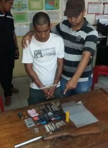 Rudi warga Jembatan Besi diamankan Polres Tarakan karena kepemilikan senjata api dan sebagai pengedar sabu-sabu.