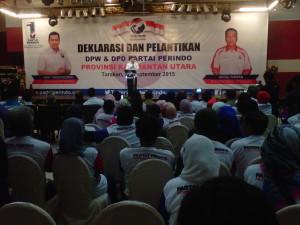 Ketua Umum DPP Partai Perindo Hary Tanoesoedibjo saat menyampaikan pidato politik di Tarakan Plaza, Senin (29/09).