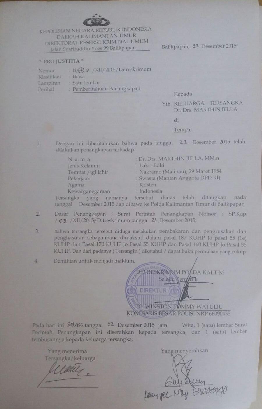 Surat Pemberitahuan Penangkapan yang diberikan kepada keluarga Marthin Billa.