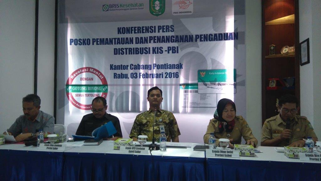 Konferensi Pers Posko Pemantauan dan Penanganan Pengaduan Distribusi KIS-PBI yang digelar BPJS Kesehatan Kalbar belum lama ini.