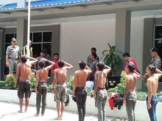 Sejumlah anak punk yang diamankan Satpol PP Kota Samarinda.