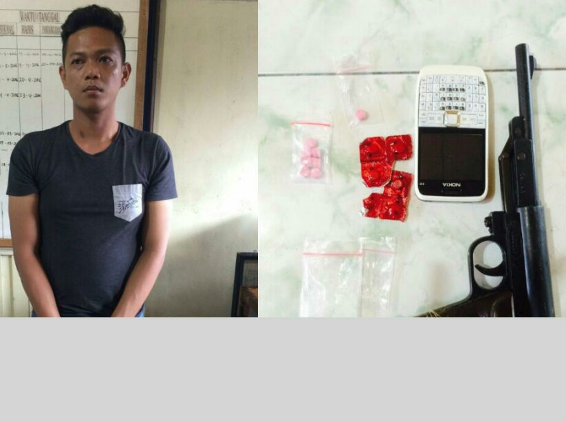 Sr dan barang bukti Narkoba saat di Polresta Pontianak.